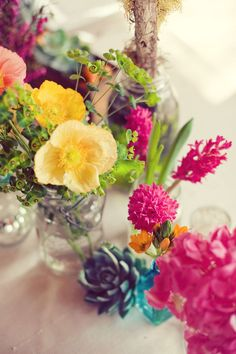 Mason jars with flowers