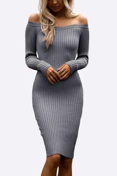 Grey Sexy Off Shoulder Midi Bodycon Dress