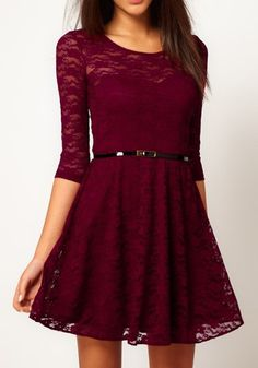 Red Belt Collarless Seven's Sleeve Lace Dress = CLASSIC