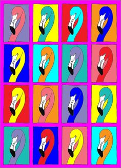 Warhol inspired 'Funky Flamingos'. A download coloring activity. Cut them vertically into four strips to make great vacation bookmarks!