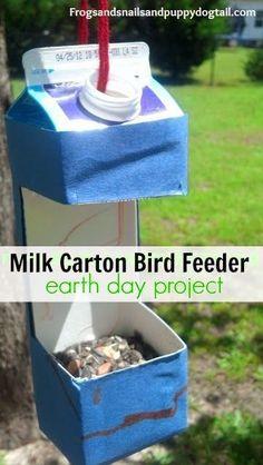 Milk Carton Bird Feeder ~ Earth Day project for kids10 Earth Day Activities for Kids #earthday