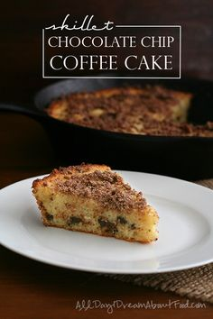Tender almond flour coffee cake with delicious crispy edges from being baked in a skillet! Sugar-free