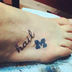 U of M University of Michigan Hail Tattoo Maize and Blue