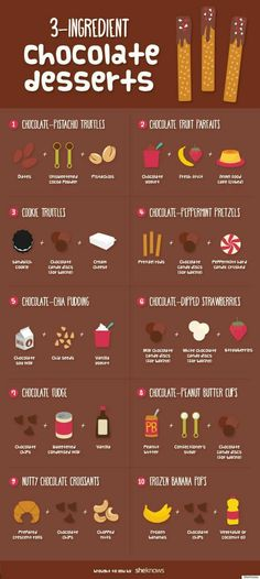 These tasty chocolate treats are unbelievably easy to make (INFOGRAPHIC) is part of Chocolate dessert 3 Ingredients - What could make chocolate better How about a list of chocolate dessert recipes that couldn't be easier to make You'll love these Easy Chocolate Desserts, Hot Chocolate Recipes, Chocolate Treats, Decadent Chocolate, Chocolate Chocolate, Chocolate Truffles, Fruit Parfait, Chocolate Chia Pudding, Chocolate Peanut Butter Cups