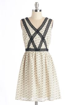 Cafe Au Playful Dress. Catch up with pals over coffee and pastries in this charming frock.  #modcloth