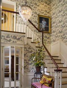 Traditional House | Foyer of designer Joan Waddell | Pierre Deux 'Quatre Saisons' on the walls