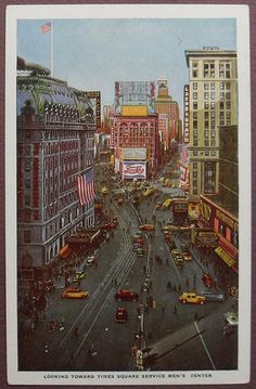 1940s TIMES SQUARE COLOR illustration POSTCARD vintage NYC new york city