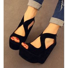 1970's black, open toe, ankle strap, wedge shoe   2013 Spring and Summer Thin Open Toe Suede Wedges High-heeled Platform ...