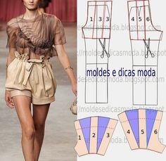 TRANSFORMAÇÃO MOLDE DE CALÇA Desenhe o molde de calça (base) frente e costas. Desenhe a altura do calção nas frentes e costas. Subir o cinto 5 cm nas frent