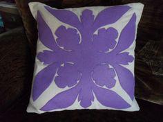 Tropical Hawaiian Quilt Design Grape Purple Plumeria Felt Applique Pillow Cover 18 x 18 inches