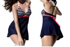 Hot sexy ladies navy #stripe swim dress swimsuit one piece #costume with #skirt ,  View more on the LINK: http://www.zeppy.io/product/gb/2/122079958178/