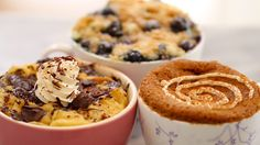 Microwave Mug Breakfast Recipes- French Toast in A Mug, Blueberry Muffin in a Mug with Streusel Topping, Cinnamon Roll in a Mug. Incredible Mug recipes that you won't believe was made in a microwave!