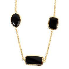 West Coast Jewelry Elya Goldplated Onyx Necklace, Women's