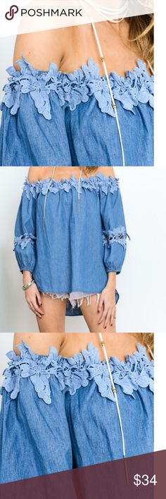 Only one!  Denim off shoulder patch top 1 left!! Flower lace patch around shoulder lightweight top.   This top looks Cute paired with denim jeans or denim distressed shorts.  For this seasons trend, denim on denim is this seasons must have.  Model is 5'6 wearing a small top Tops Blouses