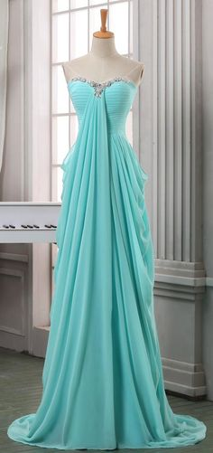 Baby blue chiffon long prom dress