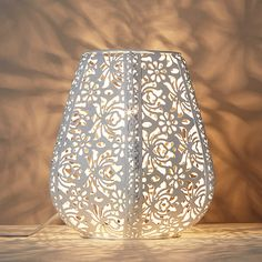 Buy John Lewis & Partners Rosanna Metal Fretwork Table Lamp, Duck Egg from our Fusion range at John Lewis & Partners. Narrow Bedside Cabinets, New Home Essentials, Floral Design, Graphic Design, White Table Lamp, Higher Design, Bedside Lamp, Pear Shaped, John Lewis