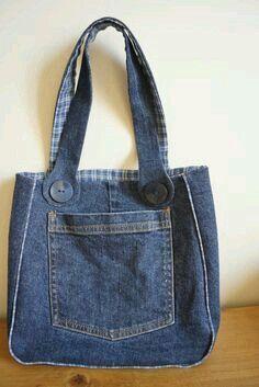 Bag of recycled jeans. Denim bag over the shoulder. Hobo bag with lining. Vegan bag of jeans.Tote bag denim Perfect denim tote bag for daily use, made of recycled denim.Denim gift bag by touchofdenim on etsy – ArtofitUpcycling Bag from Old Denim - Salva Denim Tote Bags, Denim Handbags, Denim Purse, Patchwork Denim, Denim Quilts, Sewing Jeans, Diy Sac, Denim Crafts, Upcycled Crafts