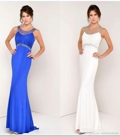 Sexy White Blue Evening Dresses 2017 Modest Crystal Sheath Long Backless Prom Party Formal Dress Beaded Celebrity Gowns Hot Sale Truworths Evening Dresses Arabic Evening Dresses From Lovemydress, $102.52| Dhgate.Com