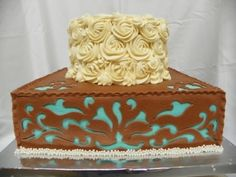 Western Chic Bridal Shower cake By Sealey on bubblegumcakes.com.  Bottom tier matched the bride's boots!