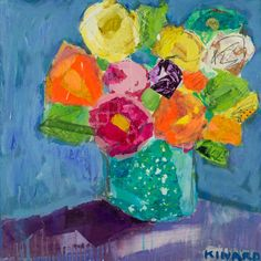 <b>Flower Punch On Blue 24x24</b> - Mixed Media - Shain Gallery (704) 334-7744