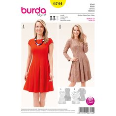 Misses Dress with Swingy Skirt Burda Sewing Pattern No. 6744. Size 8-18.