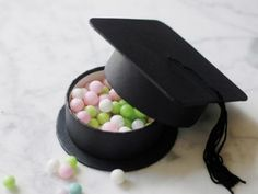 Graduation Hat Party Favor Box - You can store confetti, almonds, nuts, jewelry or whatever in this box. 10 Creative Graduation Party Favor Ideas, http://hative.com/creative-graduation-party-favor-ideas/,