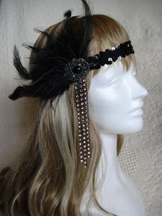 1920s Flapper Headband, Black Headband, Great Gatsby Headband, Black Feather, Gem and Rhinestone Headband