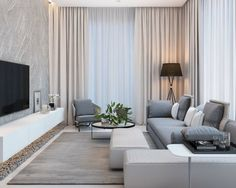 wohnzimmer-einrichten-modern-graue-nuancen-tapete-vorhänge-beige