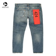 42.99$  Buy here - http://aliu51.shopchina.info/go.php?t=32701175890 - Retro FourTwoFour Straight Fit Denim Jeans Mens Justin Bieber Distressed Ripped 424 Hip Hop Streetwear Free Shipping  #buyonline
