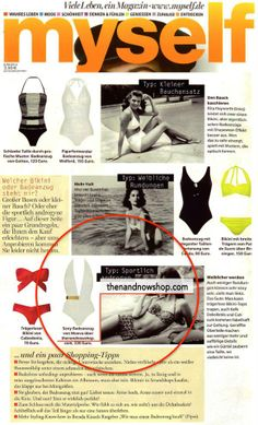 Our Moeva swimsuit featured in myself Germany, June 2014 issue #myself #press #Moeva, shop here >> http://www.thenandnowshop.com/women/white-bridget-one-piece/pd15097258.html