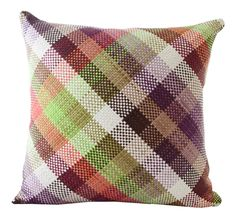 Harlequin Plaid Pillow in Lime - Dering Hall