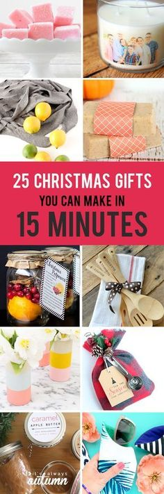 easy homemade Christmas gifts you can make in 15 minutes 25 gorgeous DIY Christmas gifts you can make in 15 minutes! Quick and easy homemade handmade gorgeous DIY Christmas gifts you can make in 15 minutes! Quick and easy homemade handmade gifts. Christmas Gift You Can Make, Easy Homemade Christmas Gifts, Easy Homemade Gifts, Christmas Gifts To Make, Handmade Christmas Gifts, Simple Christmas, Christmas Diy, Handmade Gifts, Easy Gifts