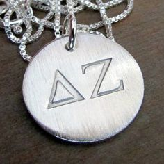 Sorority Necklace  Silver Greek Letter Charm  by ERiaDesigns