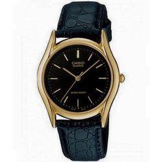 Casio Men's Black Leather Quartz Watch with Black Dial Casio Quartz, Gents Watches, Cool Watches, Watches For Men, Black Watches, Mens Watches Leather, Leather Men, Black Leather, Black Gold