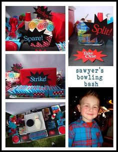 Cute signage idea for a kids bday bowling party!