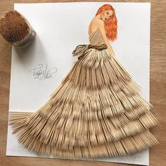 Haute couture made from everyday objects - the fashion drawings by Edgar Artis -. Fashion Illustration Sketches, Fashion Sketches, Dress Sketches, Fashion Sketchbook, Arte Fashion, 3d Fashion, Fashion Beauty, Fashion Design Drawings, Drawing Fashion