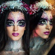 HMUA & Style Angie Y www.angieyartstyle.com  #creative #makeup #glitter #beautiful #silver #purple