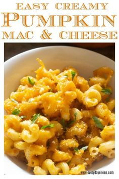 Delicious pumpkin ma Delicious pumpkin mac and cheese is a perfect fall/winter casserole! Pumpkin puree adds a delicious creaminess to the cheese sauce. A great make-ahead treat that freezes well! Great for a crowd. Perfect for Thanksgiving Cheese Recipes, Pasta Recipes, Great Recipes, Dinner Recipes, Favorite Recipes, Side Dishes Easy, Main Dishes, Healthy Cooking, Healthy Recipes