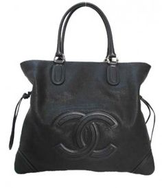 Chanel Black CC Logo Large Washed Grain Leather Drawstring Tote Bag