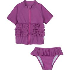 Sun Protection One Pieces Long Sleeves Swimwear with Sun Hat Purple Flowers,24-36Months Baby Girls Sunsuit UPF 50