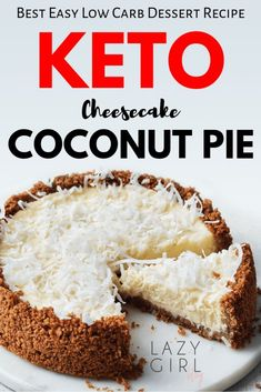 I love everything about this gorgeous easy low carb keto coconut cheesecake pie! The post Easy Low Carb Keto Coconut Cheesecake Pie Recipe appeared first on Dessert Park. Keto Cheesecake, Coconut Cheesecake, Keto Cake, Cheesecake Brownies, Pumpkin Cheesecake, Low Carb Desserts, Low Carb Recipes, Dessert Recipes, Pie Dessert