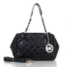 Michael Kors Susannah Quilted Leather Medium Black Totes