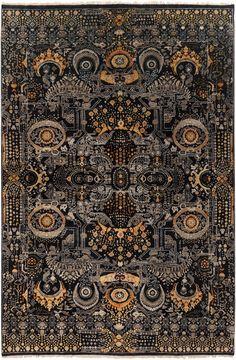 Empress Hand-Knotted Wool Rug by Surya at Gilt Wool Area Rugs, Wool Rug, Rectangular Rugs, Rectangle Area, Black Rectangle, Black Gold Jewelry, Classic Rugs, Rug Cleaning, Vintage Bohemian