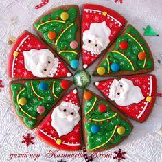 20 Galletas Navideñas Tipo Pizza - Pasteles D' Lulú Christmas Cookies Packaging, Christmas Sugar Cookies, Christmas Snacks, Noel Christmas, Christmas Goodies, Holiday Cookies, Holiday Treats, Christmas Baking, Cookies Cupcake