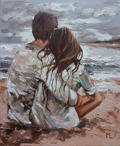 Art Sketches, Art Drawings, Romantic Paintings, Romantic Drawing, Romance Art, Wow Art, Couple Art, Couple Painting, Paintings For Sale