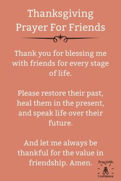 A Timely Thanksgiving Prayer For Friends