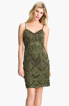 Sue Wong Embroidered Spaghetti Strap Mesh Sheath Dress | Nordstrom