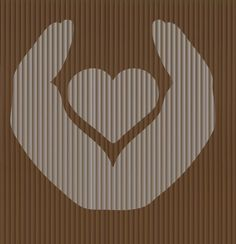 Cut And Fold Book folding pattern of Heart in hands by BookArtCo