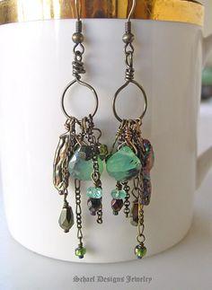 Bronze peruvian opal & biwa pearl artisan handcrafted earrings   Schaef Designs gemstone jewelry   online jewelry boutique   San Diego, CA