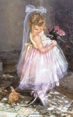 This is an adorable piece of art with the little girl.  I love the pink dress and the innocence portrayed in it.